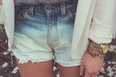Dip Bleach Shorts DIY    I am def going to do this and...  CANNOT wait for summer!