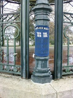 Tardis yarn bomb.  I need someone to teach me how to make this for the tree in my front yard lol