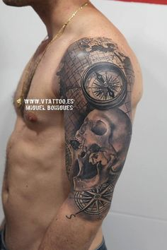 Compass with skull sleeve tattoo  - 40 Awesome Compass Tattoo Designs