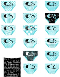 TURQUOISE Black and White Diaper Printables. Perfect for baby showers or nursery decoration! Print them, attach them to toothpicks and stick them in cupcakes. string them up as garland, glue them to shower invitations or use them as gift tags! *Available in any color* $3.50 #babyshower #blue #itsaboy #decoration #ideas #diy #desserttable #gifttag #printable #diapers #adorable #stars #hearts #cupcaketoppers #garland #nursery #decor #daycare