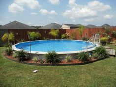 Semi above ground pool. Like the wider white rim