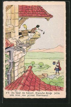 Alte Ansichtskarte: AK Disneys Schneewittchen wirft Prinz eine Rose vom Balkon zu