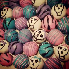Punk princess. Candy skull and zebra cake balls