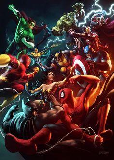 DC Comics vs Marvel by Renato Giacomini
