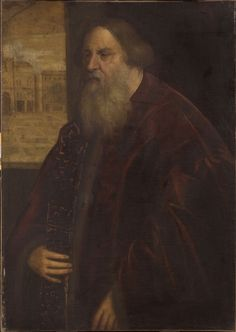 Jacopo Tintoretto (Jacopo Robusti),1518-1594, Italian (follower of), Portrait of a Venetian Senator, Mid- 16th century.  Oil on canvas: 106 x 75.6 cm.  Philadelphia Museum of Art .  Mannerism.