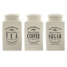 Mrs winterbottoms tea coffee sugar jars #canisters ceramic cream #retro #vintage ,  View more on the LINK: 	http://www.zeppy.io/product/gb/2/141832652747/