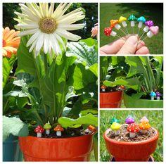 polymer clay mushroom garden stakes