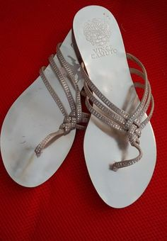 e809e25a4ab6 VINCE CAMUTO SILVER SPARKLE TRIPLE STRAP THONG FLATS 5.5M EEC WORN 2X  PRETTY  fashion  clothing  shoes  accessories  womensshoes  sandals (ebay  link)