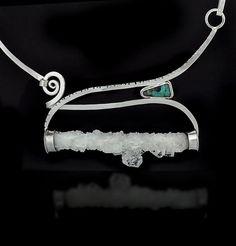 Apophyllite crystal, Australian boulder opal and sterling silver Cynthia Downs