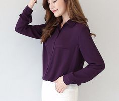 Long Sleeved Solid Color Summer Light Shirt Blouse