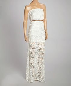 Loving this White Crocheted Maxi Dress on #zulily! #zulilyfinds