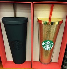 matte black and sparkly gold Starbucks cups I need both! Literally both would make my life