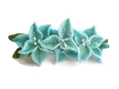 Light Teal Lily Flowers French Barrette/ Crochet by HandcraftKu