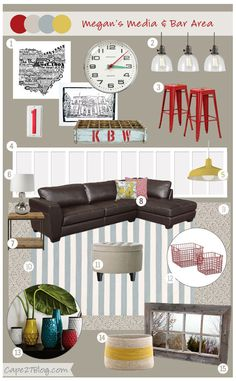 """Back with another mood board today! Here's what Megan had to say about her basement: """"This area will be a media area, bar and kids area. So it will be a mix of adult and kids areas.We are big OSU buckeye fans and have a lot of buckeyes artwork that will be incorporated in the …"""