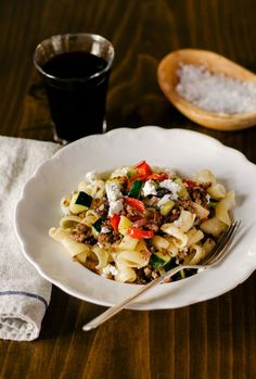 Quick Dinner #Recipe: Greek Pasta with Lamb, Zucchini, and Feta