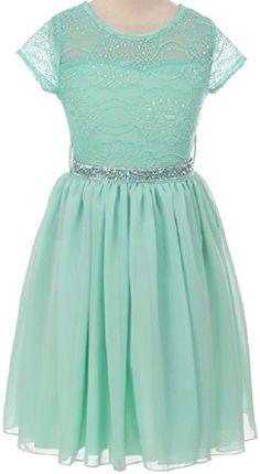 Big Girls' Lace Top Chiffon Skirt Rhinestone Belt Flowers Girls Dresses Mint 8 (J20KS53) -- Continue to the product at the image link.