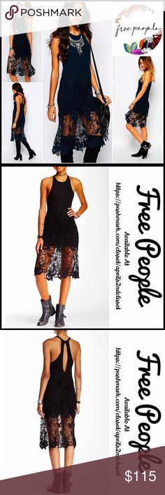 "FREE PEOPLE BOHO CROCHET Lace Dress 💟NEW WITH TAGS💟 RETAIL PRICE: $128  FREE PEOPLE Tank Dress   * Ribbed knit tank bodice; Super soft & stretchy  * Semi-sheer crochet lace overlay  * Keyhole cutout at the back  * Crew neck & racerback   * Approx 41"" long    * Fitted top & subtly relaxed skirt   Material: Modal & cotton Color: Black Item# # lace embellished # T Shirt dress sheath vintage feel shift LBD Little Black 🚫No Trades🚫 ✅ Offers Considered*✅ *Please use the blue 'offer' button to…"