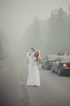 Beautifully trashy...I love this!! In fact, I may make my friends pose with me in the road..with wine...and limos. :)