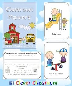 Classroom Manners Social Skills Posters - 30 pages - PDF file REVISED file, now includes update clip art (Scrappin Doodles), yearly overview, student evaluation sheets and ideas page.    30 pages designed by Clever Classroom    25 basic, classroom social skills for the early childhood classroom.