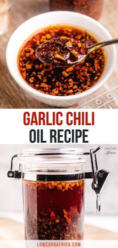 Garlic Oil Recipe, Spicy Oil Recipe, Spicy Chili Sauce Recipe, Chili Recipes, Sauce Recipes, Low Carb Recipes, Vegan Recipes, What Can I Eat, Chili Oil