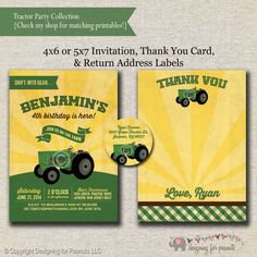 Tractor Invitation  Thank You Card  Return by designingforpeanuts