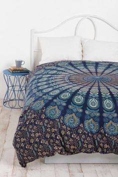 NEW-Urban-Outfitters-Hippie-Mandala-Cotton-Doona-Blanket-Duvet-Cover-Full-Queen