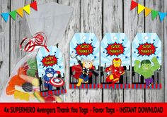SUPERHERO Thank You Tags, Labels, Favor Tags, Super Hero Birthday Party, Digital Download, Printable, Cute, Boys, Avengers by RainbowLaneDesigns on Etsy