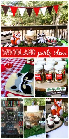 A Woodland birthday party with a fox and raccoon, plus cupcakes and cake on rustic tree stumps!  See more party planning ideas at CatchMyParty.com!