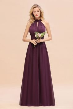 Glamorous High-Neck Halter Bridesmaid Affordable Dresses with Ruffle - Purple High-Neck Halter Long Bridesmaid Dresses Affordable Bridesmaid Dresses, Burgundy Bridesmaid Dresses, Bridesmaid Dresses Online, Affordable Dresses, Wedding Bridesmaid Dresses, Pageant Dresses, Party Dresses, Custom Made Prom Dress, Fashion Dresses