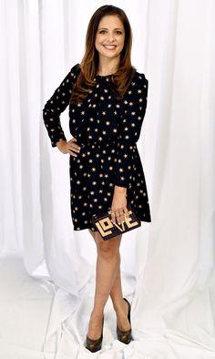 Sarah Michelle Gellar in a black printed dress