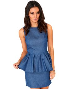 Barina Blue Denim Peplum Dress - dresses - peplum dresses - missguided