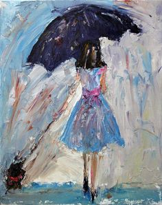 Tres Chic, original oil painting of woman in rain with umbrella walking dog