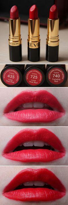 Revlon Super Lustrous Lipstick Reds: Love That Pink Love That Red Certainly Red Revlon Lipstick Shades, Revlon Lipstick Swatches, Pink Red Lipstick, Revlon Super Lustrous Lipstick, Makeup Swatches, Pink Lips, Lipstick Colors, Red Lipsticks, Lip Colors