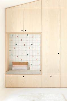 Heju x Season Paper Collection wallpaper within plywood storage wardrobe. Childrens Bedroom Wallpaper, Kids Bedroom, Hallway Storage, Bedroom Storage, Plywood Furniture, Kids Furniture, Plywood Storage, Kids Room Design, Interior Design Inspiration