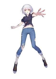 Anime picture with original daye bie qia lian single tall image short hair highres simple background white yellow eyes white hair tattoo torn clothes outstretched arm girl pants jeans android blue jeans Flower Tattoo Arm, Arm Tattoo, Dreamcatcher Tattoo Arm, Character Art, Character Design, Arrow Tattoo Design, Digital Art Anime, Drawing Anime Clothes, Manga Girl