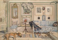 Lathörnan (Cosy Corner), 1894 Carl Larsson - nationalmuseum.se From A Home (26 watercolours)
