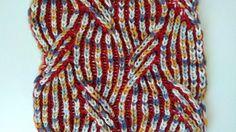 Mirrored cable, two-color brioche stitch scarf knitting pattern + free e...