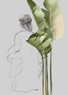 Fashion illustration - banana leaves by Agata Wierzbicka, fine art print, limited edition