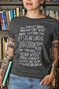 Badass Book Club Tee by CultureFlockClothing on Etsy Badass, Susan Sontag, Dorothy Parker, Club Shirts, Women In History, S Star, Cool Outfits, T Shirts For Women, Tees
