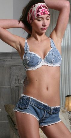 This looks like something you'd see at an ATV park in Texas!! I love it.....Old Jeans turned into a halter bathing suit type top. very cute.