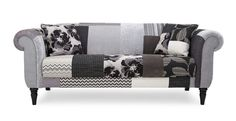 With its striking monochrome patchwork design, this distinctive piece is sure to create real standout in any contemporary home. Decorating Blogs, Interior Decorating, Patchwork Sofa, Bungalow Floor Plans, Grey Couches, Patchwork Designs, Wing Chair, Fabric Sofa, Sofas