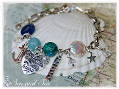 US Navy Following Seas personalized beaded charm bracelet by Son and Sea free US shipping -You choose 3 charms-  Great for deployment , Navy moms ,  MILSO , PIR ♥