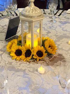 Sunflower lantern centerpiece