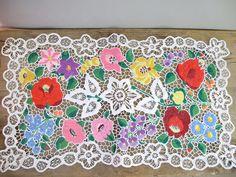 Vintage Hungarian Richelieu doily,centerpiece  with Kalocsa flower pattern,handmade
