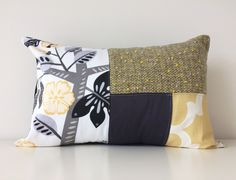 """Patchwork Pillow Cover, Modern Decor, 12x18"""", Floral, Botanical, Accent, Waverly Small Talk Blackbird Fabric, Black, Yellow, Gray, White by BlackcatmeowDesigns on Etsy"""