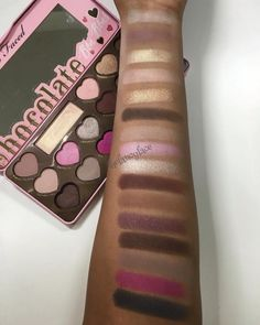 LOVE these swatches by @thefancyface of the Too Faced Chocolate Bon Bons Palette! This sweet collection launches on toofaced.com December 8th.  #chocolatebarpalette #toofaced