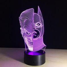 3D BATMAN JOKER LED LAMP Lampe 3d, 3d Optical Illusions, Batman, Himalayan Salt Lamp, Projector Lamp, Led Night Light, Strip Lighting, Led Lamp, Natural Crystals
