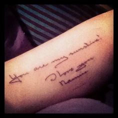 Better picture of my bicep tattoo (nannies writing)