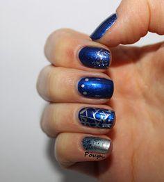 Mix'n'match bleu/argent by Poupi Oui, Nail Polish, Nails, Beauty, All Alone, Flasks, Finger Nails, Ongles, Nail