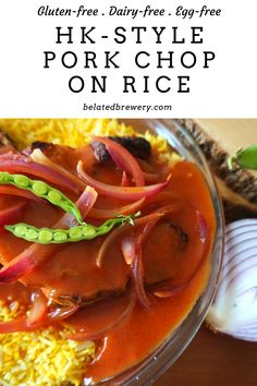 Missing the savory and rich Hong Kong-Style Pork Chop rice? Check out the Belated Brewery blog for a gluten-free, egg-free recipe for this classic rice dish!  #ricecooker #rice #pork #porkchop #friedrice #wholefoods #comfortfood #healthycomfortfood #Asiancooking #hongkongfood #simplerecipes #easyrecipes #eggfree #glutenfree #dairyfree #glutenfreedinner #tomatosauce Classic Rice, Asian Recipes, Ethnic Recipes, Baked Pork Chops, Healthy Comfort Food, Gluten Free Dinner, Asian Cooking, Rice Dishes, Comfortfood